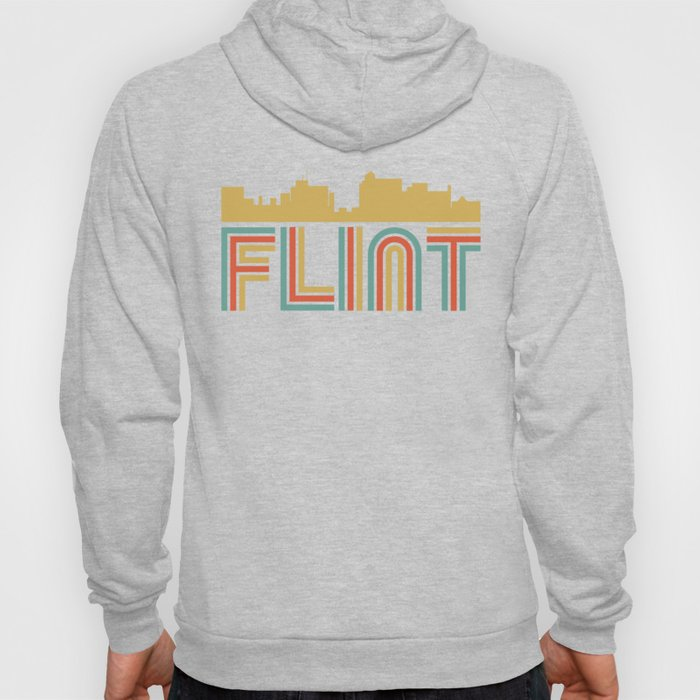 Vintage Style Flint Michigan Skyline Hoody
