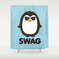 swag Shower Curtains featuring SWAG Pinguin by Laundry Factory