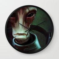 mass effect Wall Clocks featuring Mass Effect: Mordin Solus by Ruthie Hammerschlag