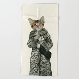 Kitten Dressed as Cat Beach Towel
