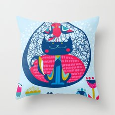 HUNGRY CAT & LITTLE BIRDIE Throw Pillow