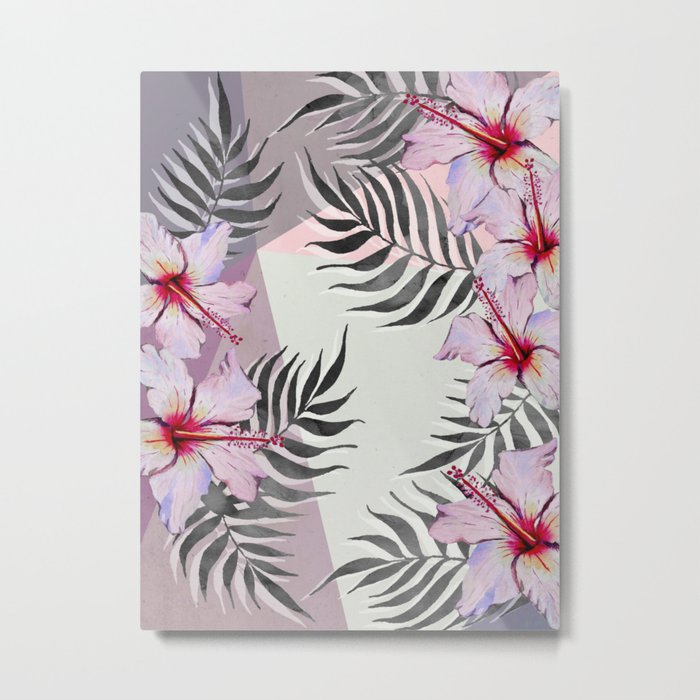 Ibiscus on Geometry Metal Print