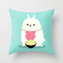 Fat bunny eating noodles Throw Pillow