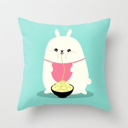 Fat bunny eating noodles Throw Pillow