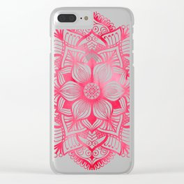 Mandala in red, watercolor Clear iPhone Case