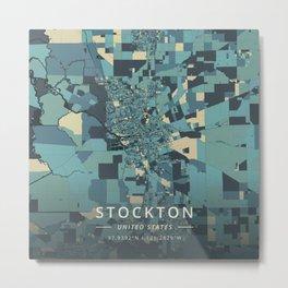 Stockton, United States - Cream Blue Metal Print