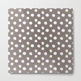 Brushy Dots pattern - brown Metal Print