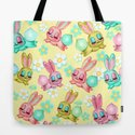 Bunnies and Daisies on Yellow by fluffshop