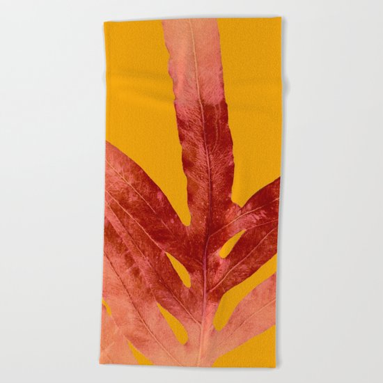 Green Fern on Red On Fire Beach Towel