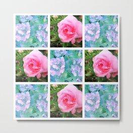 vintage roses patchwork Metal Print