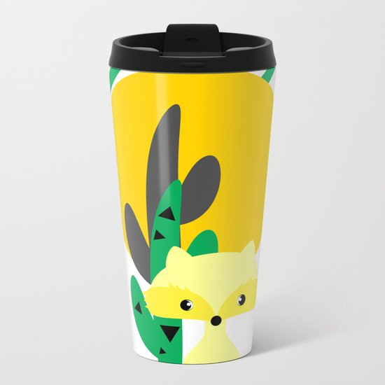 Cute fox in the desert Metal Travel Mug