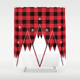 Red Buffalo Plaid Mountains Shower Curtain