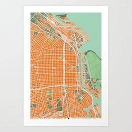 Buenos Aires city map orange Art Print