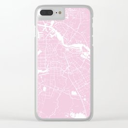 Amsterdam Pink on White Street Map Clear iPhone Case