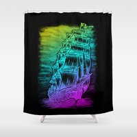 pirate ship Shower Curtains featuring Caleuche Ghost Pirate Ship - Color by Roberto Jaras Lira