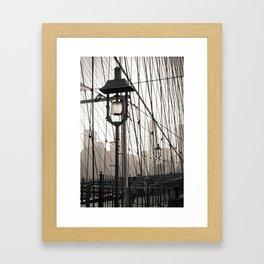 New York City's Brooklyn Bridge - Black and White Photography Framed Art Print