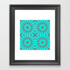 Turquoise & Gray Pinwheel Flowers Framed Art Print