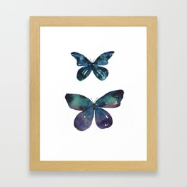 Jewel Butterflies Watercolor Framed Art Print