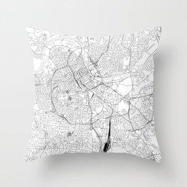 Nashville White Map Throw Pillow