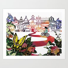 Summer Cycling Art Print
