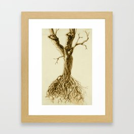 Tree people figure stretching waking in the sun twisted roots pencil drawing Framed Art Print