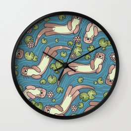 Swimming Otters Pastel Tones Wall Clock