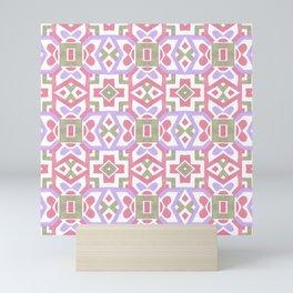 Geometrical pink lavender watercolor tribal moroccan pattern Mini Art Print