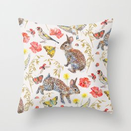 Bunny Meadow Pattern Throw Pillow