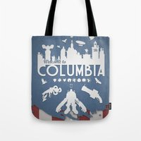 bioshock infinite Tote Bags featuring Welcome To Columbia - Bioshock Infinite (Variant) by s2lart