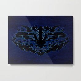 Blue Tribal Wolf Metal Print