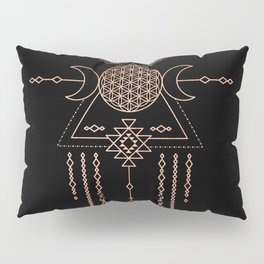 Mandala Flower of Life Rose Gold Pink Pillow Sham