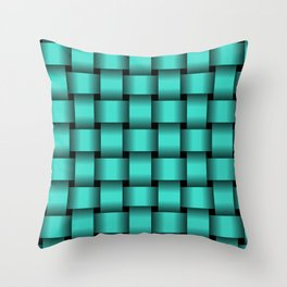 Large Turquoise Weave Throw Pillow