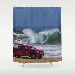 Newport Beach Lifeguard Truck Shower Curtain