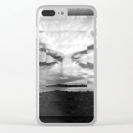 Eyes Closed Black & White Clear iPhone Case