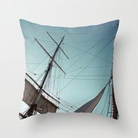 pirate ship Throw Pillows featuring Pirate Ship by Amanda Novocin Bee