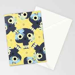 Cute pattern with funny skulls and yellow flowers Stationery Cards