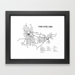 Twin Cities Lines Map Framed Art Print