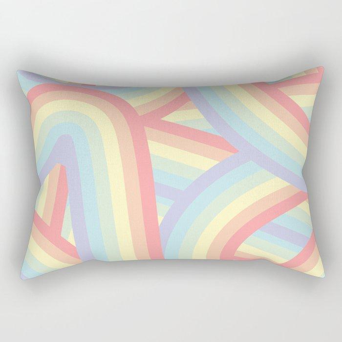 Soft Pastel Rainbow Stripes Pattern Rectangular Pillow