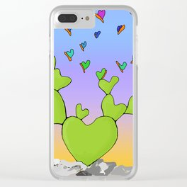 Butterfly Evolving Heart Cactus Clear iPhone Case