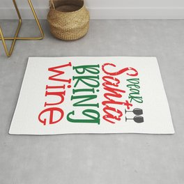 Dear Santa Bring Wine - Funny Christmas humor - Cute typography - Lovely Xmas quotes illustration Rug