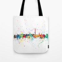 washington dc Tote Bags featuring Washington DC Skyline by artPause