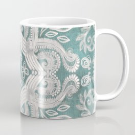 Teal and grey dirty denim textured boho pattern Coffee Mug
