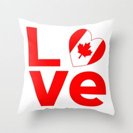 Canadian Red LOVE Throw Pillow