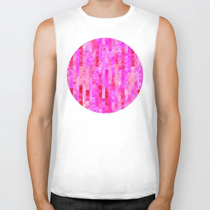 Pink Geometric Pattern Biker Tank
