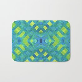 Green and blue geometric abstract motif, hand painted elements Bath Mat