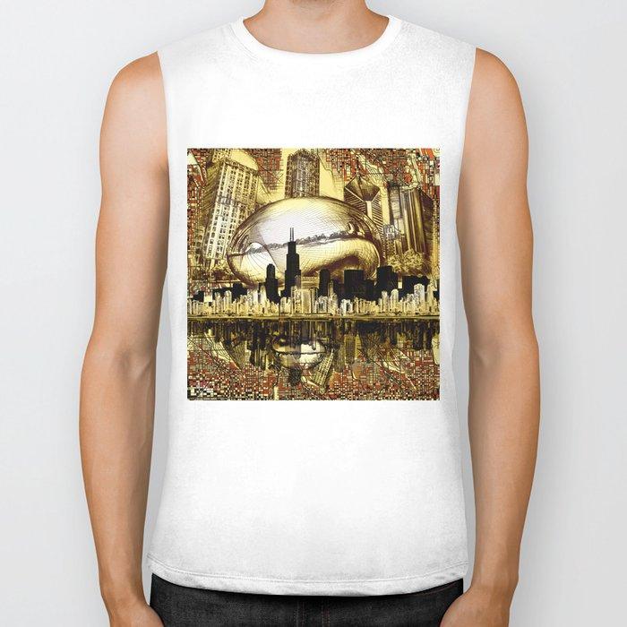 chicago city skyline Biker Tank