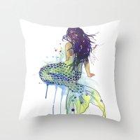 mermaid Throw Pillows featuring Mermaid by Sam Nagel