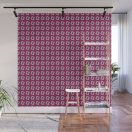 CHICLET bright wine red with small white repeating pattern Wall Mural
