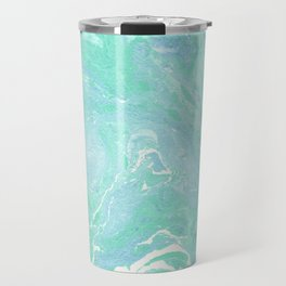 Marble texture background, white blue green marble pattern Travel Mug