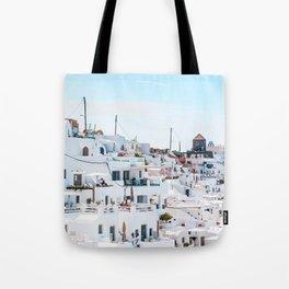 Santorini Greece Ligh Blue Sky Tote Bag